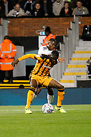 Jackson Irvine of Hull City shields the ball from Floyd Ayité of Fulham during the Sky Bet Championship match between Fulham and Hull City at Craven Cottage, London, England on 13 September 2017. Photo by Carlton Myrie.