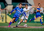 26 October 2019: University of Massachusetts Lowell River Hawk Forward Renato Kauzlaric, a Sophomore from Zagreb, Croatia, battles University of Vermont Catamount Defender Garrett Lillie, a Sophomore from York, Maine, in first half action at Virtue Field in Burlington, Vermont. The Catamounts rallied to defeat the River Hawks 2-1, propelling the Cats to the America East Division 1 conference playoffs. Mandatory Credit: Ed Wolfstein Photo *** RAW (NEF) Image File Available ***