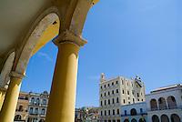 Columns on the patio of a restored building on Plaza Vieja, Havana, Cuba.