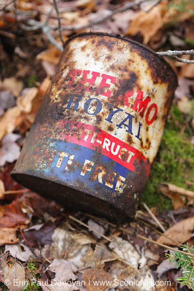 Rusted can along the Beebe River drainage in Sandwich, New Hampshire USA.