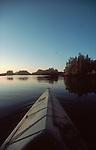 Sea kayaking; British Columbia coast at sunrise; Johnstone Strait; Vancouver Island; British Columbia; Canada, North America; Inside Passage to Alaska;.