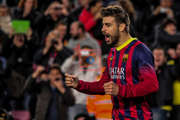 League BBVA 2013/2014 - Game: 21.<br /> FC Barcelona vs Malaga CF: 3-0.<br /> Gerard Pique.