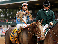 "LEXINGTON, KY - October 7, 2017. #9 Free Drop Billy and jockey RObby Albarado after winning the 104th running of the Claiborne Breeders' Futurity, Grade 1 $500,000 ""Win and You're In Breeders' Cup Juvenile Division"" for owner Albaugh Family Stables, and trainer Dale Romans at Keeneland Race Course.  Lexington, Kentucky. (Photo by Candice Chavez/Eclipse Sportswire/Getty Images)"