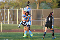 Piscataway, NJ - Sunday April 24, 2016: Sky Blue FC forward Maya Hayes (5) celebrates scoring with Sky Blue FC forward Tasha Kai (32) and defender Kelley O'Hara (19). The Washington Spirit defeated Sky Blue FC 2-1 during a National Women's Soccer League (NWSL) match at Yurcak Field.