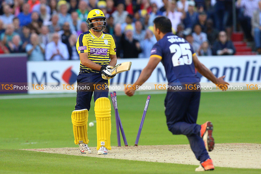 Shahid Afridi of Hampshire is bowled out by Ravi Bopara during Essex Eagles vs Hampshire, Nat West T20 Blast Cricket at the Essex County Ground on 24th June 2016