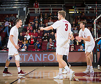 STANFORD, CA - January 5, 2019: Eric Beatty, Paul Bischoff, Kyler Presho at Maples Pavilion. The Stanford Cardinal defeated UC Santa Cruz 25-11, 25-17, 25-15.
