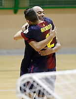 FC Barcelona Alusport's Ari Santos (l) and Aicardo celebrate goal during Spanish National Futsal League match.November 24,2012. (ALTERPHOTOS/Acero) /NortePhoto