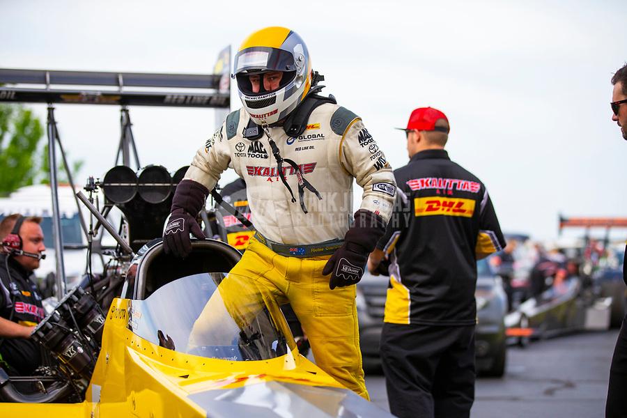 May 18, 2018; Topeka, KS, USA; NHRA top fuel driver Richie Crampton during qualifying for the Heartland Nationals at Heartland Motorsports Park. Mandatory Credit: Mark J. Rebilas-USA TODAY Sports