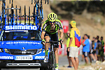 Aritz Bagues Kalparsoro (ESP) Euskadi-Murias on the slopes of Sierra de la Alfaguara near the finish of Stage 4 of the La Vuelta 2018, running 162km from Velez-Malaga to Alfacar, Sierra de la Alfaguara, Andalucia, Spain. 28th August 2018.<br /> Picture: Eoin Clarke | Cyclefile<br /> <br /> <br /> All photos usage must carry mandatory copyright credit (&copy; Cyclefile | Eoin Clarke)
