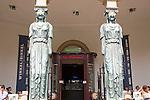 Statues at entrance to Winkel van Sinkel historic building, Utrecht, Netherlands