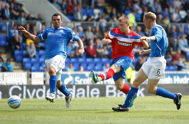 Gregg Wylde cuts inside and lashes a shot wide beyween defenders Callum Davidson and Steven Anderson