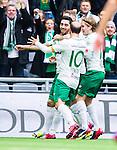 Stockholm 2015-04-25 Fotboll Allsvenskan Hammarby IF - &Aring;tvidabergs FF :  <br /> Hammarbys Nahir Besara jublar med Kennedy Bakircioglu och Oliver Silverholt efter sitt 2-0 m&aring;l under matchen mellan Hammarby IF och &Aring;tvidabergs FF <br /> (Foto: Kenta J&ouml;nsson) Nyckelord:  Fotboll Allsvenskan Tele2 Arena Hammarby HIF Bajen &Aring;tvidaberg &Aring;FF jubel gl&auml;dje lycka glad happy