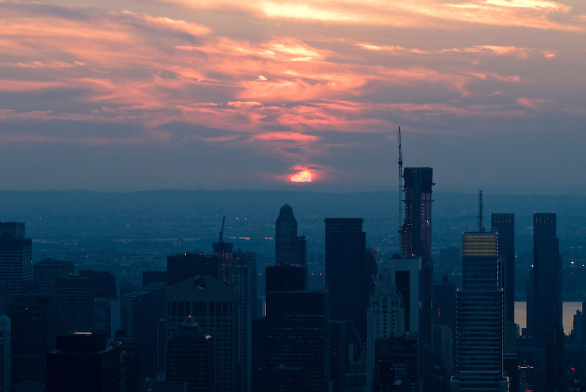 Sun set over the West Side of Manhattan, New York.