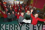 Spa captain Niall O'Mahony pictured with his class in the Holy Cross Mercy School, Killarney, on Wednesday.