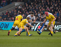 24th November 2019; AJ Bell Stadium, Salford, Lancashire, England; European Champions Cup Rugby, Sale Sharks versus La Rochelle; Jono Ross (Capt) on the charge for Sale Sharks - Editorial Use