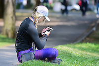 Jon Rahm's (ESP) girlfriend, Kelley Cahill takes a break on 7 to catch up on social media during round 3 of the World Golf Championships, Mexico, Club De Golf Chapultepec, Mexico City, Mexico. 3/4/2017.<br /> Picture: Golffile | Ken Murray<br /> <br /> <br /> All photo usage must carry mandatory copyright credit (&copy; Golffile | Ken Murray)