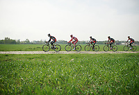 Team BMC training over the cobbles<br /> <br /> 2014 Paris-Roubaix reconnaissance