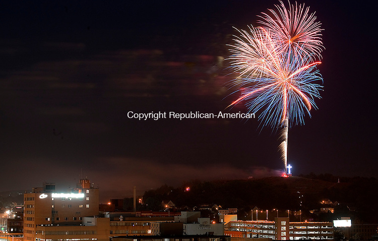 WATERBURY, CT--- -070515JS10-- Fireworks lit up the night sky on Sunday as they were launched this year from Holy Land. Jim Shannon Republican-American