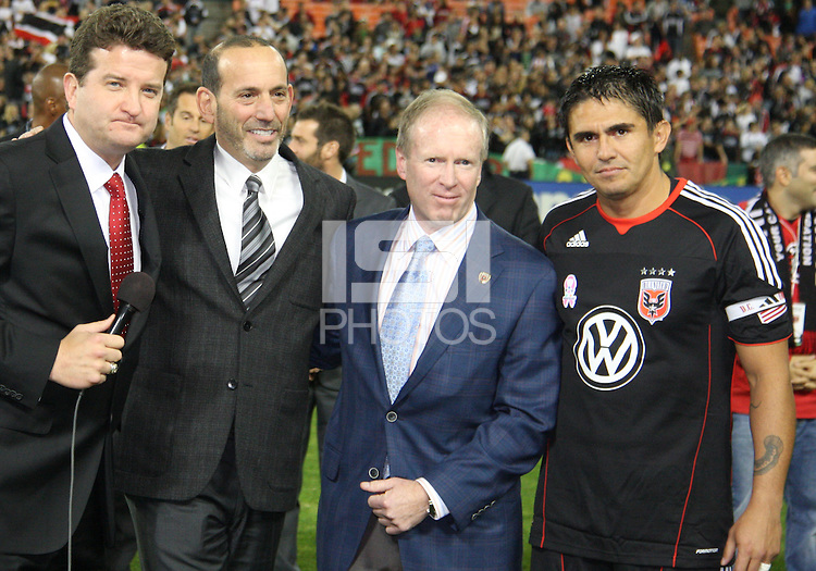 MC Dave Johnson, MLS head Don Garber, D.C. United CEO Kevin Payne with Jaime during festivities surrounding the final appearance of Jaime Moreno in a D.C. United uniform, at RFK Stadium, in Washington D.C. on October 23, 2010. Toronto won 3-2.