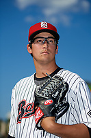 Birmingham Barons pitcher Dane Dunning (33) poses for a photo before a game against the Pensacola Blue Wahoos on May 8, 2018 at Regions Field in Birmingham, Alabama.  Birmingham defeated Pensacola 5-2.  (Mike Janes/Four Seam Images)