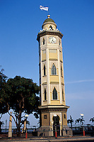 Moorish-style clock tower on the Malecon 2000 pedestrian walkway in Guayaquil, Ecuador