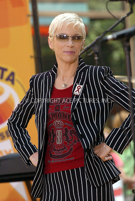 Annie Lennox giving a free concert on 'Today Show.' New York, July 2, 2004. Please byline: AJ SOKALNER/ACE Pictures.   .. *** ***..All Celebrity Entertainment, Inc:  ..contact: Alecsey Boldeskul (646) 267-6913 ..Philip Vaughan (646) 769-0430..e-mail: info@nyphotopress.com