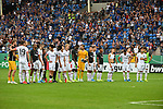 11.08.2019, Carl-Benz-Stadion, Mannheim, GER, DFB Pokal, 1. Runde, SV Waldhof Mannheim vs. Eintracht Frankfurt, <br /> <br /> DFL REGULATIONS PROHIBIT ANY USE OF PHOTOGRAPHS AS IMAGE SEQUENCES AND/OR QUASI-VIDEO.<br /> <br /> im Bild: Die Frankfurter feiern mit ihren Fans<br /> <br /> Foto © nordphoto / Fabisch