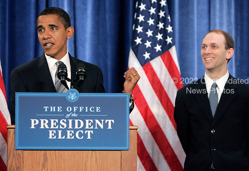 Chicago, IL - November 26, 2008 -- United States President-elect  Barack Obama points to Austan Goolsbee during a news conference Wednesday, November 26, 2008, in Chicago, Illinois. .Credit: Frank Polich - Pool via CNP