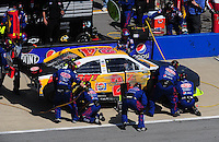 Apr 26, 2009; Talladega, AL, USA; NASCAR Sprint Cup Series driver Jeff Gordon pits after crashing during the Aarons 499 at Talladega Superspeedway. Mandatory Credit: Mark J. Rebilas-