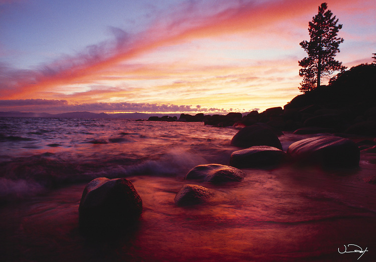 Lake Tahoe Scenic Sunset With Waves
