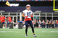 July 30, 2018: New England Patriots wide receiver Chris Hogan (15) warms up before practice at the New England Patriots training camp held at Gillette Stadium, in Foxborough, Massachusetts. Eric Canha/CSM