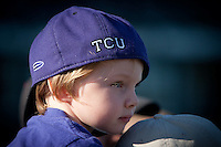 Young TCU fan April 27th, 2010; NCAA Baseball action, Baylor University Bears vs TCU Horned Frogs at Lupton Stadium in Fort Worth, Tx;  TCU won 5-4 in extra innings.