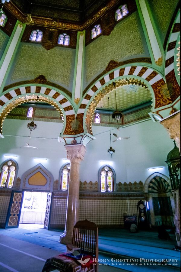 Indonesia, Sumatra. Medan. The Great Mosque (Masjid Raya) of Medan built in 1906 in Moroccan style. Interior.