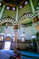 Indonesia, Sumatra. Medan. The Great Mosque (Masjid Raya) of Medan built in 1906 in Moroccan style. Interior.