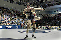 STATE COLLEGE, PA - JANUARY 25: Dylan Ness of the Minnesota Golden Gophers and Cody Law of the Penn State Nittany Lions during their match on January 25, 2015 at Recreation Hall on the campus of Penn State University in State College, Pennsylvania. Minnesota won 17-16. (Photo by Hunter Martin/Getty Images) *** Local Caption *** Dylan Ness;Cody Law