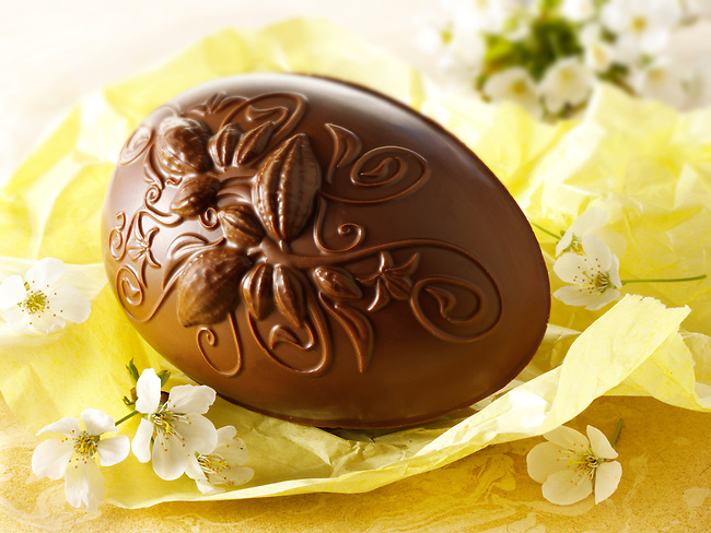 decorated traditional milk Chocolate Easter egg
