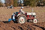 Antique tractors plowing a field in fall during the Branch 158 EDGE & TA Fall Plow Day and Plowing Seminar near Pleasant Grove, Calif...Silmer Scheidel Farm..C. 1950 Ford 8N tractor