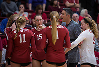 Stanford, CA - November 17, 2019: Kevin Hambly, Madeleine Gates, Kate Formico, Jenna Gray, Morgan Hentz at Maples Pavilion. #4 Stanford Cardinal defeated UCLA in straight sets in a match honoring neurodiversity.