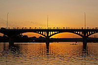 Kayakers watch America's largest urban bat population take flight from underneath the Ann Richards Congress Ave Bridge at sunset on Lady Bird Town Lake.