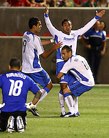 Nick Rimando, Pablo Campos Arturo Alvarez, Antonio Ribeiro after Alvarez' goal in the San Jose Earthquakes @ Real Salt Lake 1-1 draw at Rio Tinto Stadium in Sandy, Utah on July 03, 2009