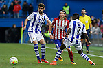 Atletico de Madrid´s Filipe Luis and Real Sociedad´s Xabi Prieto during 2015-16 La Liga match between Atletico de Madrid and Real Sociedad at Vicente Calderon stadium in Madrid, Spain. March 01, 2016. (ALTERPHOTOS/Victor Blanco)