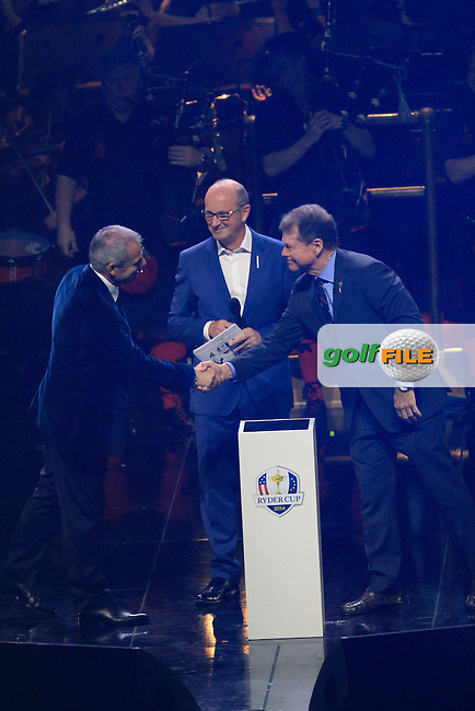Paul McGinley (Captain) and Tom Watson (Captain) during the Ryder Cup Gala Concert 2014 at SSE Hydro on Wednesday 24th September 2014.<br /> Picture:  Thos Caffrey / www.golffile.ie