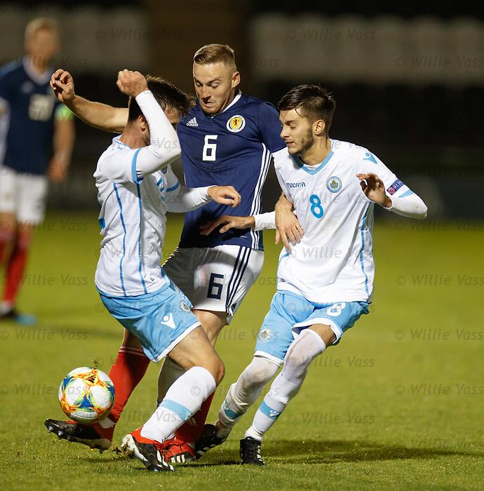 05.09.2019 Scotland u-21 v San Marino, European u-21 Championship 2021 Qualifying Round: Allan Campbell with Giacomo Conti and Riccardo Michelotti