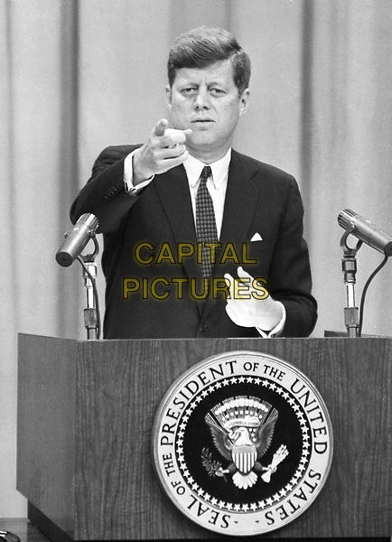 United States President John F. Kennedy conducts a press conference in Washington, D.C. on Wednesday, March 1, 1961..Credit: Arnie Sachs / CNP /MPI/Capital Pictures