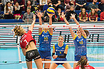 20.12.2017, Margon-Arena, Dresden, GER, DVV-Pokal Damen Halbfinale, Dresdner SC vs. SSC Palmberg Schwerin, im Bild<br /> <br /> <br /> Dominika Strumilo (#7, Dresdner SC), Denise Hanke (#10, SSC Palmberg Schwerin), Louisa Lippmann (#3, SSC Palmberg Schwerin), Marie Schoelzel (#16, SSC Palmberg Schwerin), <br /> <br /> Foto &copy; nordphoto / Dostmann