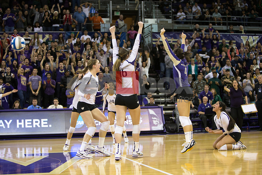 The University of Washington volleyball team defeats Hawaii in the second round of the NCAA tournament at Alaska Airlines Arena on December 1, 2012. (Photography by Max Waugh/Red Box Pictures)