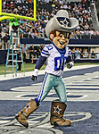 The Dallas Cowboys mascot, Rowdy, in action during the pre- season game between the St. Louis Rams and the Dallas Cowboys at the Cowboys Stadium in Arlington, Texas. Dallas defeats St. Louis  20 to 19.