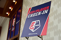Los Angeles, CA - Thursday January 12, 2017: Signage prior to the 2017 NWSL College Draft at JW Marriott Hotel.