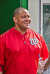 22 May 2015: Washington Nationals Vice President of Clubhouse Operations & Team Travel Rob McDonald smiles in the dugout during batting practice prior to a game against the Philadelphia Phillies at Nationals Park in Washington, DC. The Nationals defeated the Phillies 2-1 in the first game of their 3-game weekend series. Mandatory Credit: Ed Wolfstein Photo *** RAW (NEF) Image File Available ***