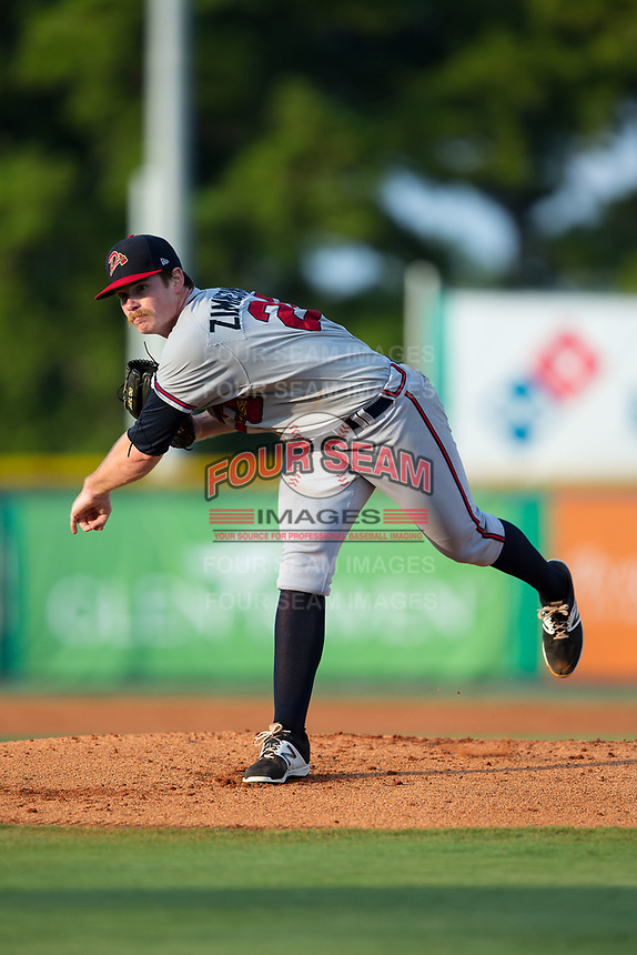 Danville Braves starting pitcher Bruce Zimmerman (28) follows through on his delivery against the Burlington Royals at Burlington Athletic Stadium on August 14, 2017 in Burlington, North Carolina.  The Royals defeated the Braves 9-8 in 10 innings.  (Brian Westerholt/Four Seam Images)